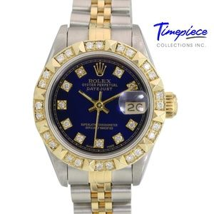 Rolex Womens Datejust Blue Diamond Dial Bezel 26mm